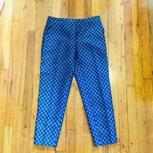 Anthropologie Blue Jacquard Ankle Cropped Pants 2